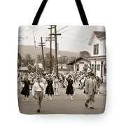 Memorial Day Parade Ashley Pa With Train Station And The Huber Colliery In Background 1955 Tote Bag