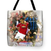 Memphis Depay Of Manchester United In Action Tote Bag