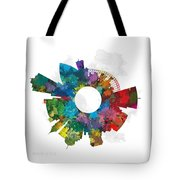 Memphis Small World Cityscape Skyline Abstract Tote Bag
