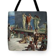 Men Bid On Women At A Slave Market Tote Bag