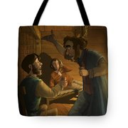 Men In A Hut Tote Bag