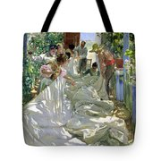 Mending The Sail Tote Bag by Joaquin Sorolla y Bastida