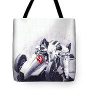 Mercedes Benz W125 Rudolf Caracciola The German Grand Prix Nurburgring 1937  Tote Bag by Yuriy Shevchuk