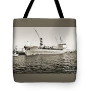 Merchant Ship Docked At Barcelona's Harbour Tote Bag