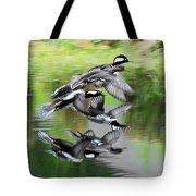 Mergansers In Flight Tote Bag