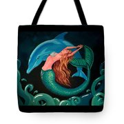 Mermaid And Dolphin  Tote Bag