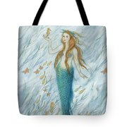 Mermaid And Her Golden Seahorse Tote Bag