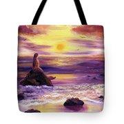 Mermaid In Purple Sunset Tote Bag