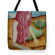 Mermaid On Sand With Heart Tote Bag