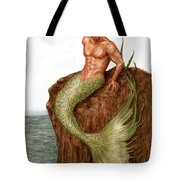 Merman On The Rocks Tote Bag