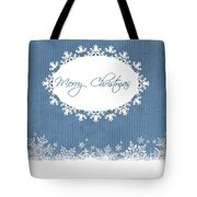 Merry Christmas In Blue Tote Bag