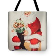 Merry Christmas Santa Pulls Doll From His Sack Vintage Card Tote Bag