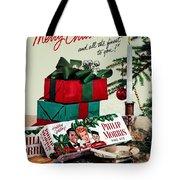 Merry Christmas Vintage Cigarette Advert Tote Bag