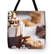 Messy Hot Chocolate, Cream And Marshmallows And A Choc-chip Cook Tote Bag
