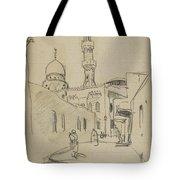 met uitzicht op de Al-Rifai moskee Tote Bag
