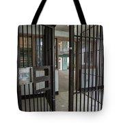 Metal Bars Leading Into Cellblock In Prison Tote Bag