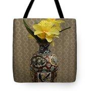 Metal Vase With Flowers Tote Bag