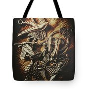 Metallic Birdlife Abstract Tote Bag