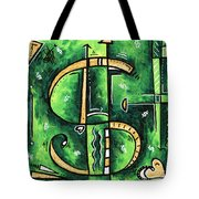 Metallic Gold Dollar Sign For The Love Of Money Mini Pop Art Painting Madart Tote Bag
