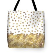 Metallic Gold Floral Flower Swirls Trendy Unique Art By Madart Tote Bag