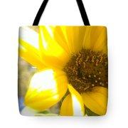 Metallic Green Bee In A Sunflower Tote Bag