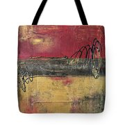 Metallic Square Series I - Red And Gold Urban Abstract Painting Tote Bag