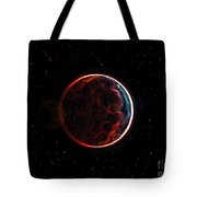 Meteor Shower Over Planet X Tote Bag