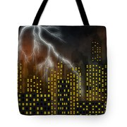 Metropolis At Stormy Night Tote Bag