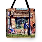 Metuchen Nj - Bicyclists On Main Street Tote Bag