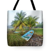 Mexican Boat In The Fog Tote Bag