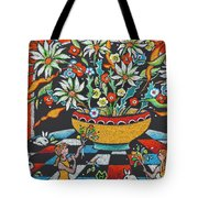 Mexican Vase With Spring Flowers Tote Bag