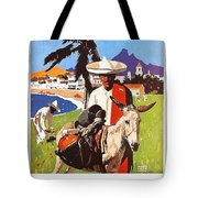 Mexico, Mexican Posing With Donkey Tote Bag