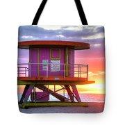 Miami Beach Round Life Guard House Sunrise Tote Bag