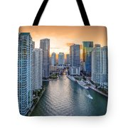 Miami River Fron The Drone Tote Bag