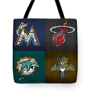 Miami Sports Fan Recycled Vintage Florida License Plate Art Marlins Heat Dolphins Panthers Tote Bag