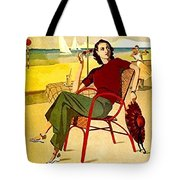 Miami, Woman On The Beach Under Sunshade Tote Bag