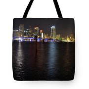 Miami's Downtown At Night Tote Bag