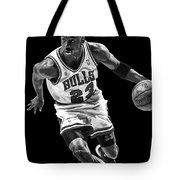 Michael Jordan Drives To The Basket Tote Bag