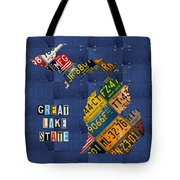Michigan License Plate Map Great Lake State With Vintage Blue Plate Background Edition Tote Bag