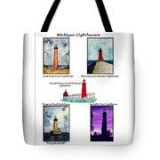 Michigan Lighthouses Montage Tote Bag