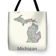 Michigan Line Art Map Tote Bag
