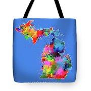 Michigan Map Color Splatter 3 Tote Bag