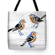 Michigan Robins State Bird Recycled Vintage License Plate Art On White Barn Wood Tote Bag