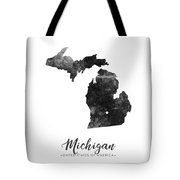 Michigan State Map Art - Grunge Silhouette Tote Bag