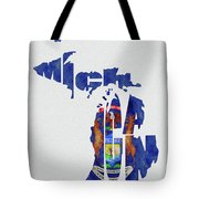 Michigan Typography Map Flag Tote Bag