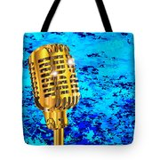 Microphone On Blues Fire Tote Bag