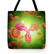 Microscopic View Of Human Anitbodies Tote Bag by Stocktrek Images