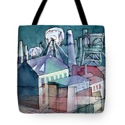 Midnight Colliery Original Watercolour Painting Tote Bag