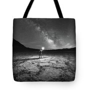 Midnight Explorer At Badwater Basin Bw Tote Bag