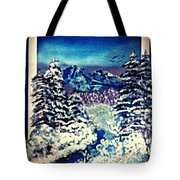 Midnight Winter Mountain Tote Bag